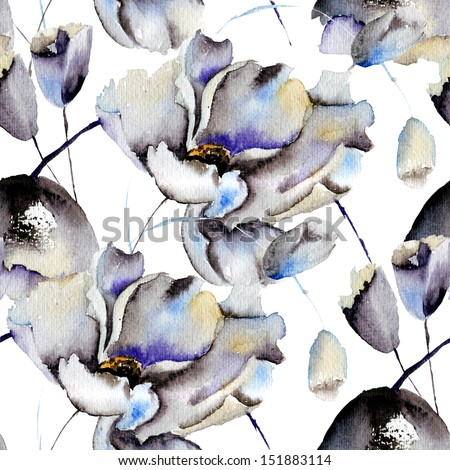 Seamless patterns with Beautiful flowers, watercolor illustration - stock photo