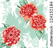 Seamless peony design green and red - stock photo