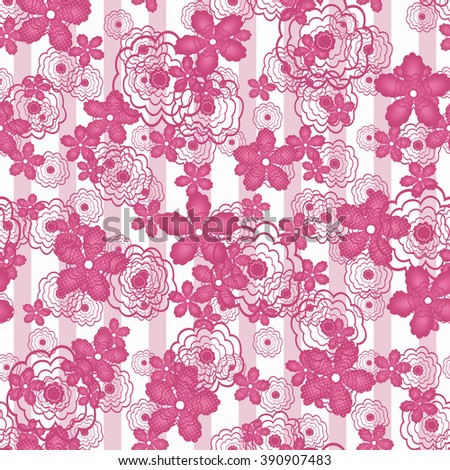 Seamless pink floral pattern striped background