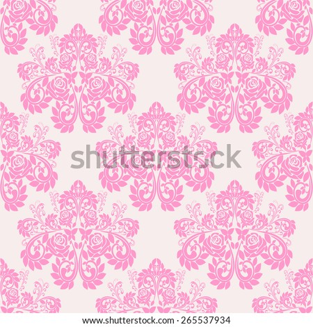 Seamless pink floral Wallpaper with roses. Raster version. - stock photo