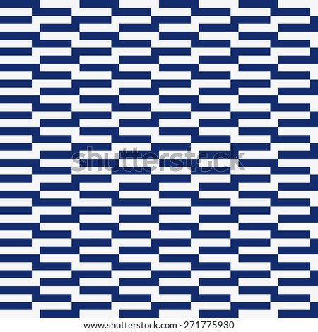 Seamless porcelain indigo blue and white op art rectangle pattern - stock photo