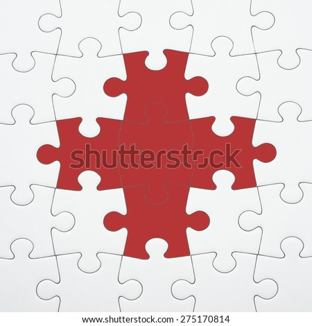 Seamless puzzle piece background pattern. Red cross on white background. Conceptual image of connection, solution and business strategy. - stock photo