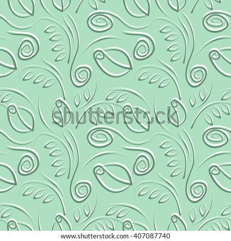 Seamless raster floral pattern. Decorative ornamental green background with flowers, leaves and decorative elements. Series of Floral Seamless Patterns