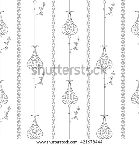 Seamless raster floral  pattern. Symmetrical repeating background with decorative ornamental flowers and leaves on the white backdrop. Repeating ornament. Series of Line Work Seamless Patterns.  - stock photo