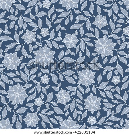Seamless raster floral pattern with colorful fantasy plants and flowers, pattern can be used for wallpaper, pattern fills, web page background, surface textures