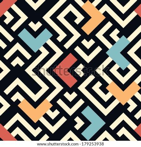 Seamless raster geometric pattern background - stock photo