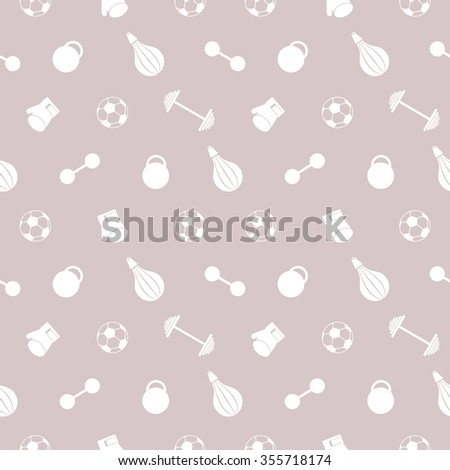 Seamless raster pattern.  Background with white sports equipment. Soccer ball, punching bag, gloves, barbells, dumbbells and weight on the beige backdrop - stock photo