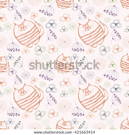 Seamless raster pattern. Cute background with hand drawn cats and flowers. Series of Cartoon, Doodle, Sketch and Scribble Seamless Patterns. - stock photo