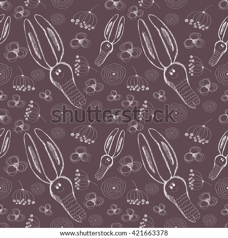 Seamless raster pattern. Cute background with hand drawn rabbits and flowers. Series of Cartoon, Doodle, Sketch and Scribble Seamless Patterns. - stock photo
