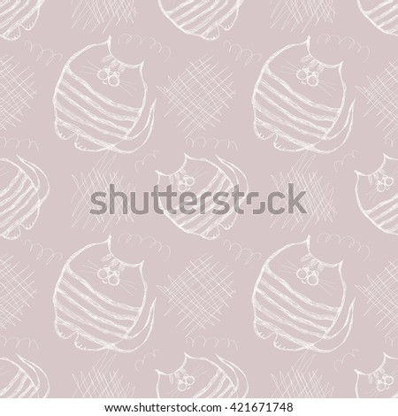 Seamless raster pattern. Cute gray background with hand drawn cats and scribbles. Series of Cartoon, Doodle, Sketch and Scribble Seamless Patterns. - stock photo