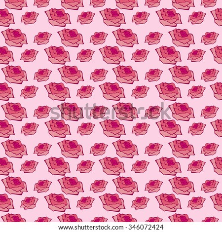 Seamless raster  pattern, floral symmetrical background with roses over pink backdrop.