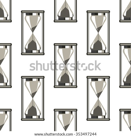 Seamless raster pattern. Symmetrical background with closeup grey sand glasses on the white backdrop