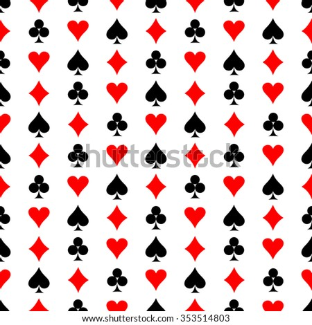 Seamless raster pattern. Symmetrical background with red and black icons of game cards, on the white backdrop
