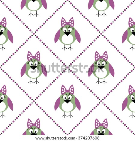 Seamless raster pattern with animals, cute symmetrical  background with birds. Series of Animals and Insects Seamless Patterns. - stock photo