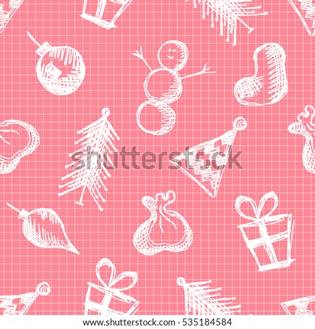 Seamless raster pattern with cute hand drawn fir trees, snowmen, gifts, christmas toys. Pink seasonal winter background Graphic illustration..