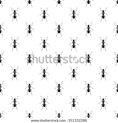 Seamless raster pattern with insects, black and white symmetrical  background with ants - stock photo