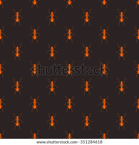 Seamless raster pattern with insects, dark symmetrical background with red ants - stock photo
