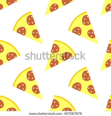 Seamless raster pattern with pizza on the white background. Series of Food and Drink Seamless Patterns. - stock photo
