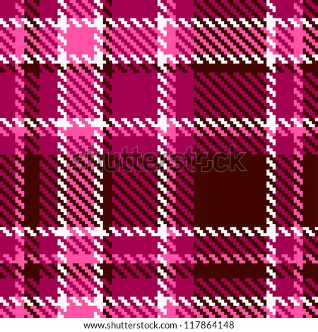 Seamless Red and Pink Checkered Fabric Pattern - stock photo
