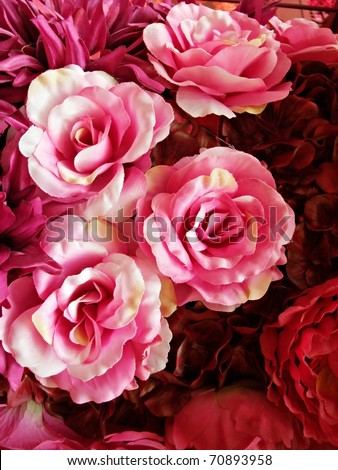 Seamless Red and Pink Fabric Roses Background
