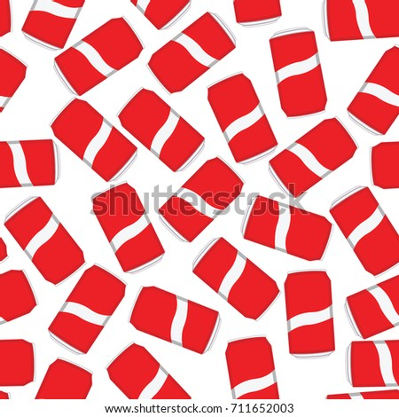 Seamless red and white soda cans pattern