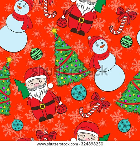 Seamless red background, Christmas and New Year's decorative elements.  Suitable for various designs, invitation, thank you card, wrapping paper pattern and scrapbooking. - stock photo