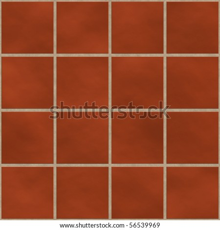 Seamless red (brick like) square tiles texture - stock photo