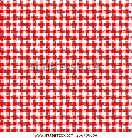 Seamless red checkered tablecloth pattern  - stock photo