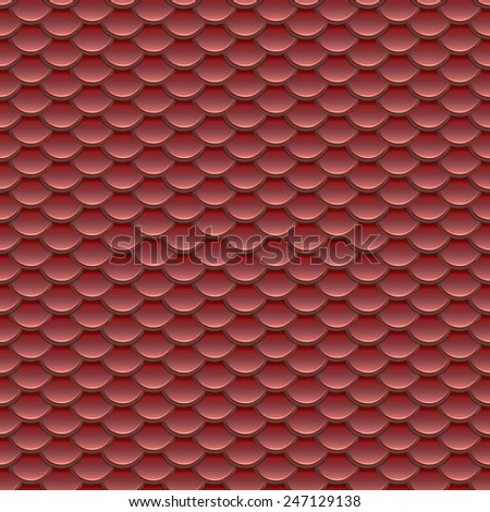 Seamless red fish scale armor pattern in abstract style  - stock photo
