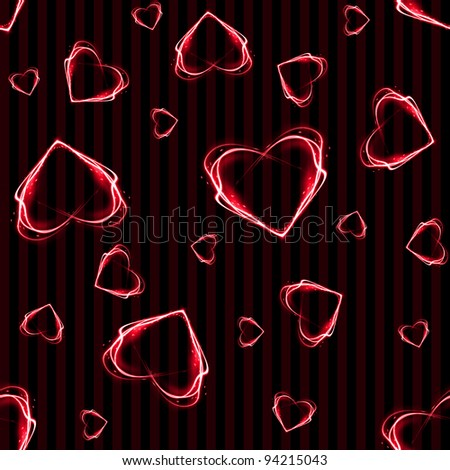 Seamless Red Heart Background Wallpaper - stock photo