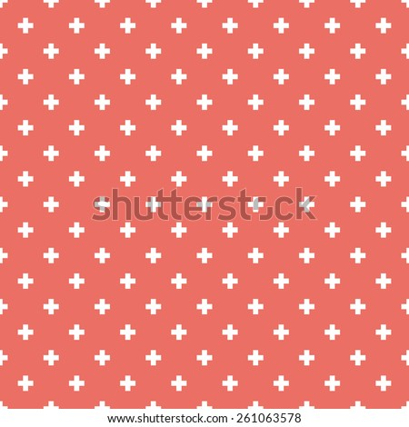 Seamless red op art plus cross symbol pattern - stock photo