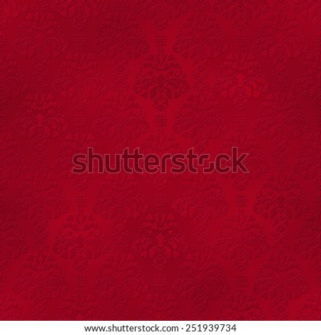 Seamless Red Tone On Tone Damask Pattern - stock photo