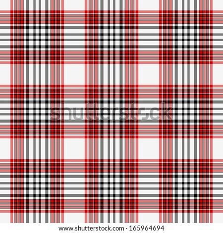 Seamless Red, White, & Black Plaid - stock photo