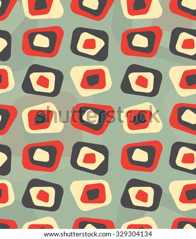 Seamless repeatable abstract curved rectangle vintage pattern with contemporary colors - stock photo