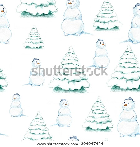 Seamless repeated background with a christmas drawing of a funny snowman and spruce forest - stock photo