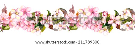 Seamless repeated floral border - pink cherry (sakura) and apple flowers. Watercolor - stock photo