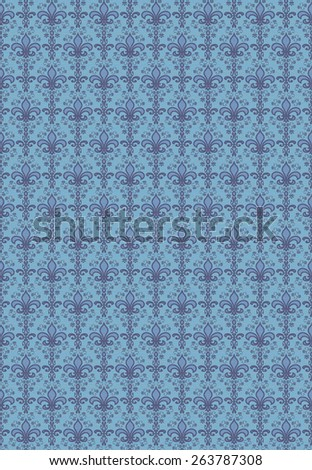 Seamless Repeating Damask Floral Wallpaper Pattern - stock photo