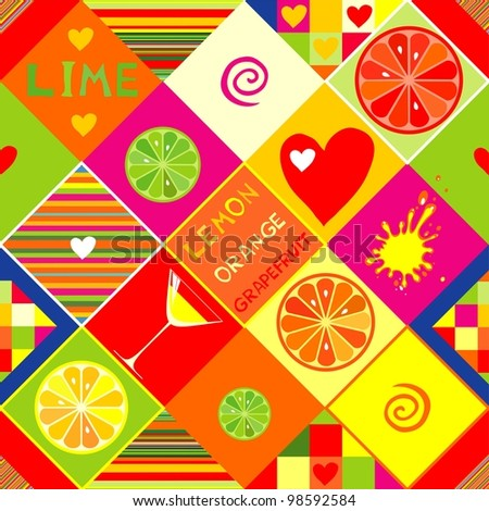 seamless repeating design with citrus fruits