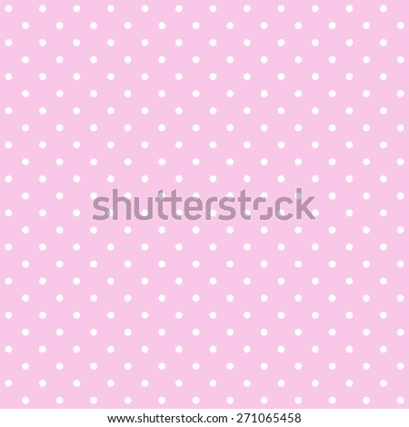 Seamless repeating polka dot spotty pattern with small white spots on a pale pastel pink background. - stock photo