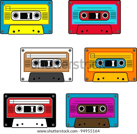 Seamless retro cassettes pattern isolated - stock photo