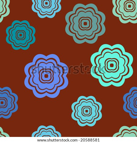 Seamless retro flowers pattern in brown and turquoise colors