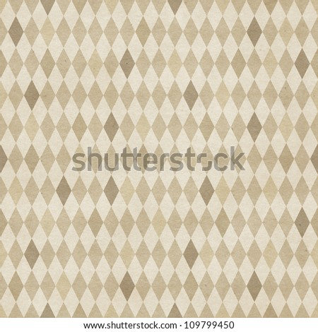 Seamless retro harlequin pattern on vintage paper texture - stock photo