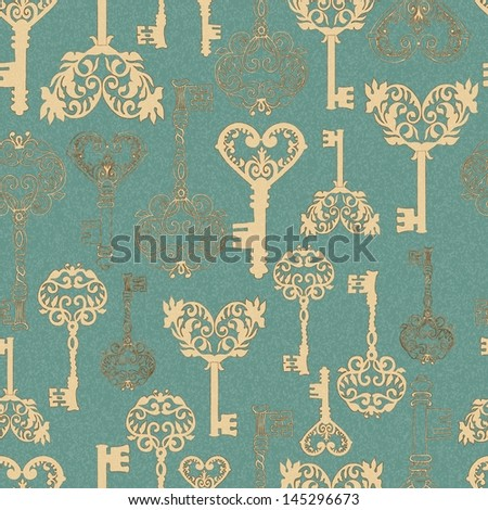 Seamless retro Keys Background for your design or scrapbook