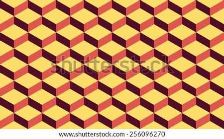 Seamless retro palette isometric flattened cubes optical illusion pattern - stock photo