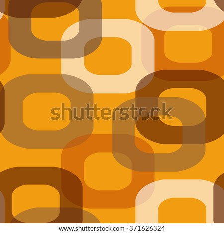 Seamless retro pattern donut shape in brown and orange - stock photo