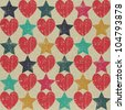 Seamless retro pattern. Texture with threadbare hearts and stars. Vector version. - stock photo