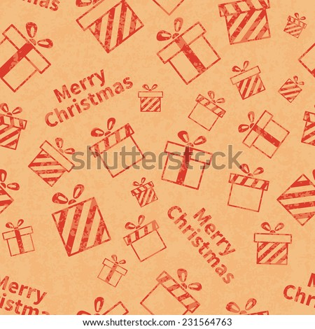 Seamless retro pattern with gift boxes and Merry Christmas text. Christmas gift background. Wrapping paper