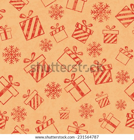 Seamless retro pattern with gift boxes and snowflakes.