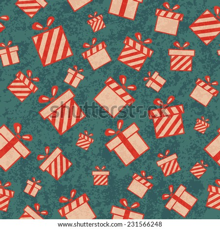 Seamless retro pattern with gift boxes. Christmas gift background. Wrapping paper - stock photo