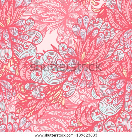 Seamless retro pink hand drawn pattern with abstract nature elements. Raster version of the vector image